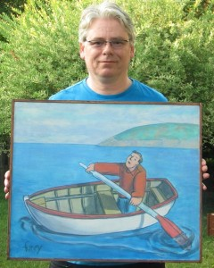 Photo of FineArtCollector owner Mark Skeffington holding a Conrad Furey painting