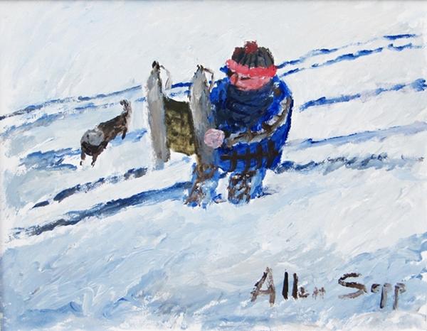 Boy Going Tobogganing | Allen Sapp