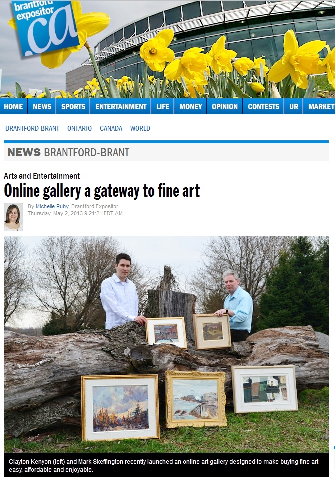 May 2, 2013 newspaper story on FineArtCollector.ca in the Brantford Expositor. Click to read online story.