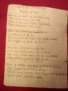 Photo of handwritten Poem about loss of seabird hunters off Chance Cove, Newfoundland