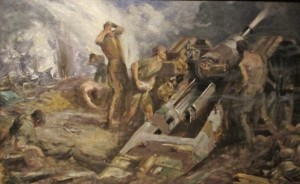 Photo of Kenneth Forbes painting Canadian Artillery in Action