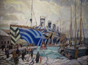 Photo of Arthur Lismer painting showing the ship Olympic with returning Canadian soldiers