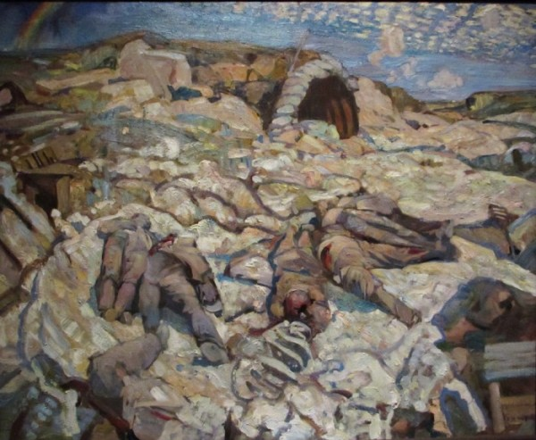 Photo of Frederick Varley's painting The Sunken Road showing a First World War battlefield.