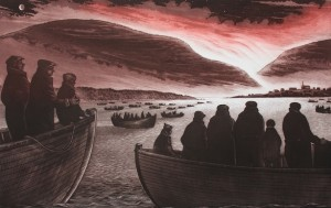 Photo of David Blackwood etching called Fire in Indian Bay