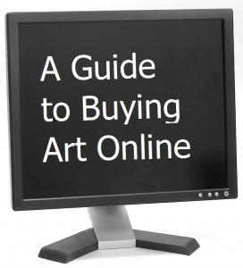 "Photo of computer monitor with type ""A Guide to Buying Art Online"""
