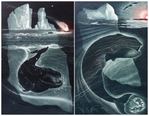 Photos of David Blackwood etchings called Fire Down the Labrador and The Great Peace of Brian and Martin Winsor