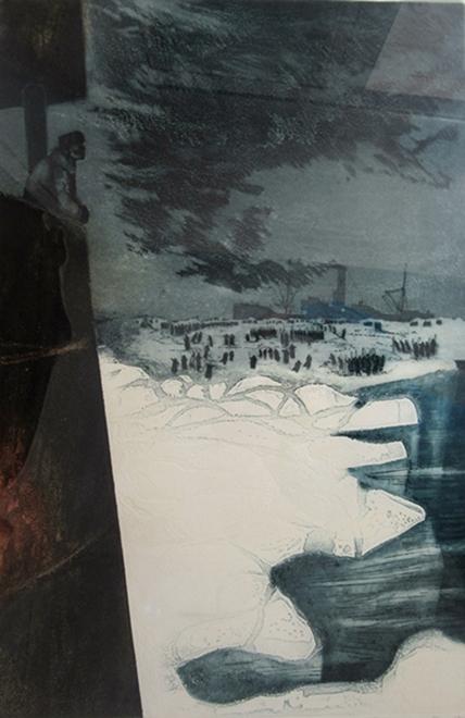 S.S. Imogene with Crew on Ice | David Blackwood